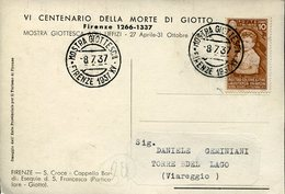 37414 Italia,special Postmark And Card 1937 Firenze, Giotto Exhibition, Giotto Austellung In The Uffizi Florence - Art