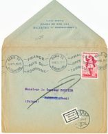 VIGNETTE DE RETOUR SUISSE GESTOREN DECEDE DECESSO OBLIT PAYERNE SUR ENV 1954 PARIS 56 OMEC - Marcophilie (Lettres)