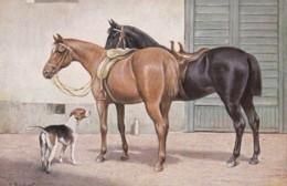 AR76 Animals - 2 Horses And A Dog, Artist Signed C Reichert - Paarden