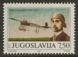 Jugoslavija Yugoslavia 1991 Mi 2473 ** Edvard Rusjan (1886-1911) Slovenian Pioneer + Bleriot XI / Flugzeugkonstrukteur - 1945-1992 Socialist Federal Republic Of Yugoslavia