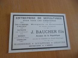 Carte De Visite Pub Entreprise De Sépulture Cimetières J.Baucher Marbrerie Paris - Advertising