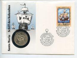 POSTCARD STAMP BUSTA FRANCOBOLLO CARIBBEAN 1 PESO 1981 DESCUBRIMIENTO DE AMERICA SANTA MARIA VELIERO SHIP AMERICAS DISCO - Cuba
