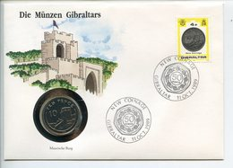 POSTCARD STAMP BUSTA FRANCOBOLLO GIBRALTAR 10 PENCE 1990 MAURISCHE BURG NEW COINAGE FIRST DAY OF ISSUE FDC UNC (1) - Gibraltar