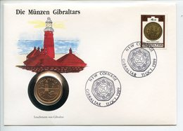 POSTCARD STAMP BUSTA FRANCOBOLLO GIBRALTAR 2 PENCE 1990 LIGHTHOUSE FARO NEW COINAGE FIRST DAY OF ISSUE FDC UNC (1) - Gibilterra