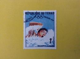 1968 CIAD TCHAD FRANCOBOLLO USATO STAMP USED SPORT NUOTO OLIMPIADI MESSICO 1 - Ciad (1960-...)