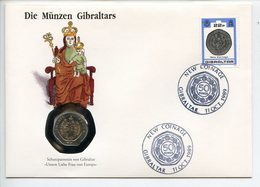 POSTCARD STAMP BUSTA FRANCOBOLLO GIBRALTAR 20 PENCE 1990 OUR DADY OF EUROPA NEW COINAGE FIRST DAY OF ISSUE FDC UNC (1) - Gibraltar