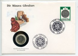POSTCARD STAMP BUSTA FRANCOBOLLO GIBRALTAR 5 PENCE 1990 GIBRALTAR APE NEW COINAGE FIRST DAY OF ISSUE FDC UNC (1) - Gibraltar