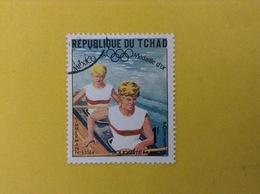 1968 CIAD TCHAD FRANCOBOLLO USATO STAMP USED SPORT CANOA OLIMPIADI MESSICO 1 - Ciad (1960-...)