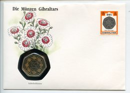 POSTCARD STAMP BUSTA FRANCOBOLLO GIBRALTAR 50 PENCE 1989 LOOP FLOWERS FAUNA NEW COINAGE FIRST DAY OF ISSUE FDC UNC (1) - Gibraltar
