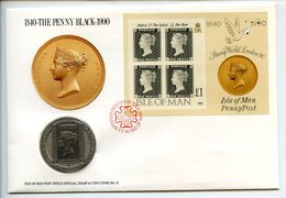POSTCARD STAMP BUSTA FRANCOBOLLO ISLE OF MAN 1 CROWN 1990 PENNY BLACK 1840 LONDON FIRST DAY OF ISSUE FDC UNC (1) - Isle Of Man