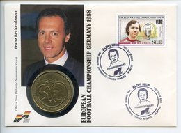 POSTCARD STAMP BUSTA FRANCOBOLLO NIUE 5 $ 1988 FOOTBALL CHAMPIONSHIP BECKENBAUER FRANZ FIRST DAY OF ISSUE FDC UNC (1) - Niue