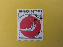 1968 CIAD TCHAD FRANCOBOLLO USATO STAMP USED SPORT ATLETICA MEDAGLIA D'ORO OLIMPIADI MESSICO 1 - Ciad (1960-...)