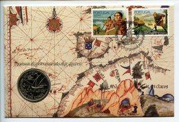 POSTCARD STAMP BUSTA FRANCOBOLLO PORTUGAL 100 S 1989 AZZORRE'S DISCOVERY SHIP NAVI VELIERI ACORES FIRST DAY OF ISSUE FDC - Portogallo