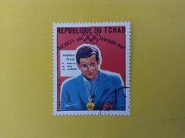 1968 CIAD TCHAD FRANCOBOLLO USATO STAMP USED SPORT PREMIAZIONE MEDAGLIA D'ORO OLIMPIADI MESSICO 1 - Ciad (1960-...)