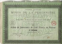 MINES DE LA PERONNIERE - LOIRE - ACTION JOUISSANCE DE 100 FRS - 1931 - Mines