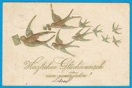 AK Gold-Prägekarte Glückwunsch Neujahr 1909   (2700 - Ansichtskarten