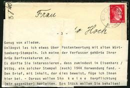 DT.REICH 1944, Nr. 788, TRAUERBRIEF MIT K1 EISENHARZ, SEHR SPÄTE VERWENDUNG! - Allemagne