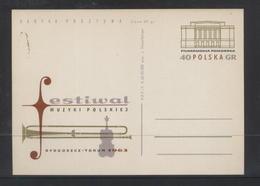 POLAND 1963 POLISH MUSIC FESTIVAL BYDGOSZCZ & TORUN PC MINT Cp 227 POSTAL STATIONERY VIOLIN TROMBONE PHILHARMONIA - Enteros Postales