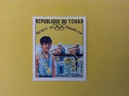 1968 CIAD TCHAD FRANCOBOLLO NUOVO STAMP NEW MNH** SPORT CANOA MEDAGLIA D'ORO OLIMPIADI MESSICO 1 - Ciad (1960-...)