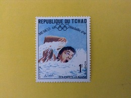 1968 CIAD TCHAD FRANCOBOLLO NUOVO STAMP NEW MNH** SPORT NUOTO MEDAGLIA D'ORO OLIMPIADI MESSICO 1 - Ciad (1960-...)