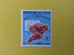 1968 CIAD TCHAD FRANCOBOLLO NUOVO STAMP NEW MNH** SPORT TUFFI MEDAGLIA D'ORO OLIMPIADI MESSICO 1 - Ciad (1960-...)