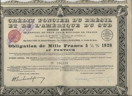 CREDIT FONCIER DU BRESIL ET DE L'AMERIQUE DU SUD - OBLIGATION DE 1000 FRS -1928 - Banque & Assurance