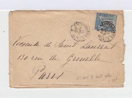 Sur Enveloppe Type Sage 15 C. Bleu. CAD Ambulant Méditerranée à Paris Avril 1899. (619) - Marcophilie (Lettres)