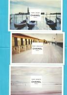 CHANEL Les EAUX Paris-Venise,Paris-Deauville,Paris-Biarritz  3 Belles Cartes Postales - Modernes (à Partir De 1961)