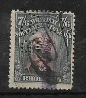 B.S.A.Co./ Rhodesia,  1913 -, George V, Admiral, 7/6, Head II, Perf 14, M/s  Fiscally Used, Perfined BSA / C - Southern Rhodesia (...-1964)