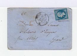 Sur Enveloppe Type Napoléon III Empire Français 20 C. Bleu. Oblitération Losange. (623) - Marcophilie (Lettres)