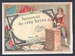 ASSIGNAT De CINQ LIVRES Chromo Bognard Paris. SAINT JUST - Monnaies (représentations)