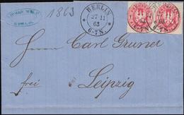 Preußen 16 Adler 1 Sgr. Brief Rahmen-O BERLIN POST-EXP. 7 - 27.11.66 N. Potsdam - Preussen