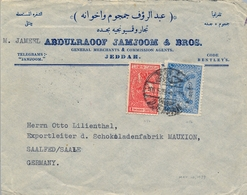 1939 , ARABIA SAUDITA , SOBRE CIRCULADO ENTRE JEDDAH Y SAALE , TRÁNSITO PORT TAUFIQ - Arabia Saudita