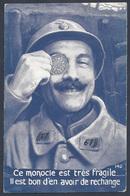 CPA DATEE DU 18 MAI 1918 CE MONOCLE TRES FRAGILE....PIECE DE 5 FRANCS - Monnaies (représentations)