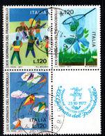 ITALIA   1977  Giornata Del Francobollo  Quartina Usata / Used - 6. 1946-.. Repubblica