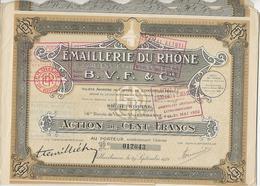 EMAILLERIE DU RHONE  - VILLEURBANNE -RHONE- LOT DE10 ACTIONS DE 100 FRS - ANNEE 1928 - Industrie