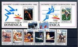 A14392)Olympia 92: Dominica 1584 - 1591** + Bl 216** + 217** - Estate 1992: Barcellona