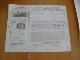 Connaissement Trelleborg's 29/09/1877 Bordeaux à Saint Pétersbourg Capres - Transports