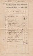MENU . RESTAURANT DES DELICES AUX TROIS-RENARDS A LA DEMI-LUNE. 4 JUIN 1907 - Menus