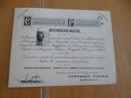 Carte Pub Illustrée Compagnie Navigation Pimorin Bordeaux Départs Horaires Au Dos - Transports