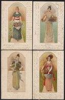 4 Stück AK Frühling Sommer Herbst Winter Jugendstil Lithos M. Glitzersand 1900 - Postales