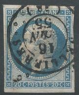 Lot N°44513   N°14A, Oblit Losange PC Et Cachet à Date De Sellières, Jura (38), Ind 5, Belles Marges - 1853-1860 Napoléon III