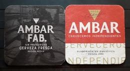 2 POSAVASOS CERVEZA AMBAR + AMBAR FAB. LA ZARAGOZANA. - Beer Mats