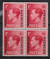 MAROC Bureaux Anglais 1937:  Le Timbre Y&T 37  En Bloc De 4, Neufs** - Marokko (1956-...)