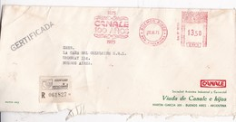 CANALE 100 AÑOS RECOMMANDE SOBRE ENVELOPE AFFRANCHISSEMENT MECANIQUE BUENOS AIRES YEAR 1975 - BLEUP - Storia Postale