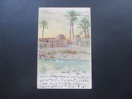 Ägypten 1902 PK Souvenir De Cairo Le Caire Kafr. Nach Burghausen Gesendet. Steno. Marken Als Waagerechtes Paar! Künstler - Ägypten