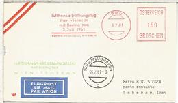 AUSTRIA PRIMER VUELO WIEN TEHERAN LUFTHANSA 1961 - Aéreo