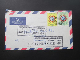 Irak / Republic Of Iraq 1959 Luftpost Der Commercial Bank Of Iraq Ltd. Baghdad. Violetter Dreieck Stempel. Toller Beleg! - Irak