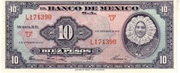 Mexico P.58  10  Pesos 1961 Unc - Mexico