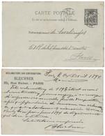 """ENTIER Avec REPIQUAGE """" BLEICHNER PARIS / RECLAMATIONS CONTRIBUTIONS """" Sur CARTE POSTALE SAGE 10c CAD PARIS 1894 - Entiers Postaux"""
